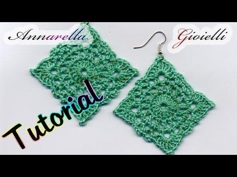 Tutorial Orecchini Uncinetto Square Crochet Earrings Youtube