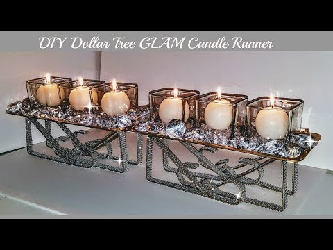 DIY Dollar Tree Candle Table Runner - Easy Diy - DIY Centerpiece