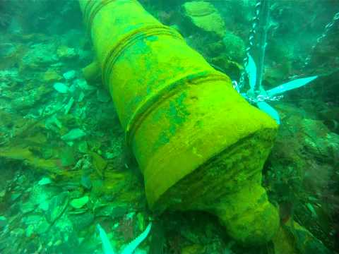 17th century cannon found 2015 off the South Devon coast near plymouth