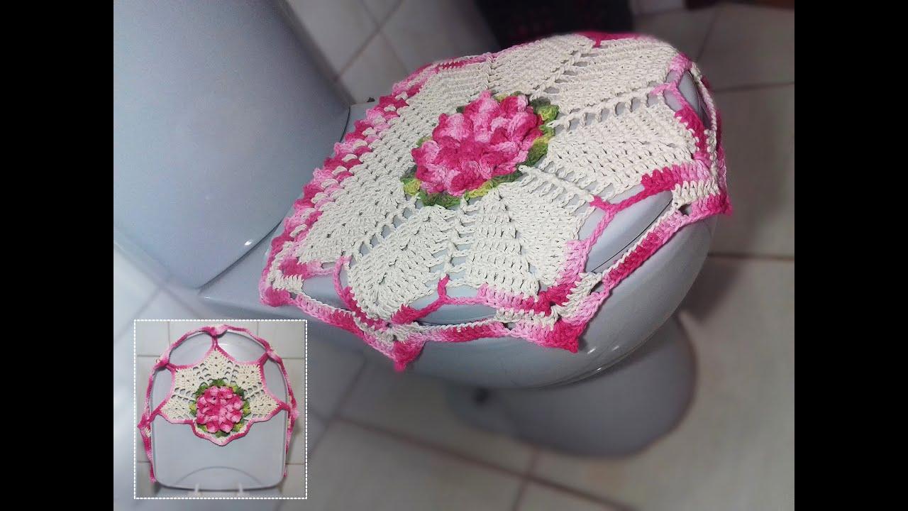 Jogo de Banheiro em crochê Tampa do Vaso # Flor Jade   #9C2F5E 3264 2448