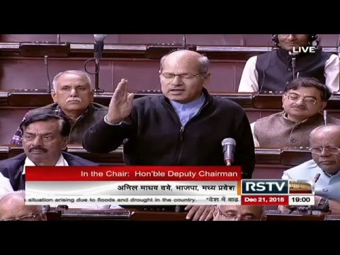 Anil Madhav Dave during a discussion on the floods and drought situation in the country
