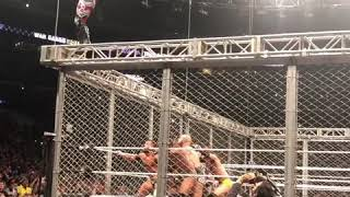 Ricochet dive on undisputed era at nxt war games Los Angeles 2018