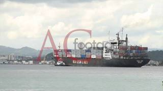 Cargo ship, boat in port, HD video footage, video stock (compressed preview)