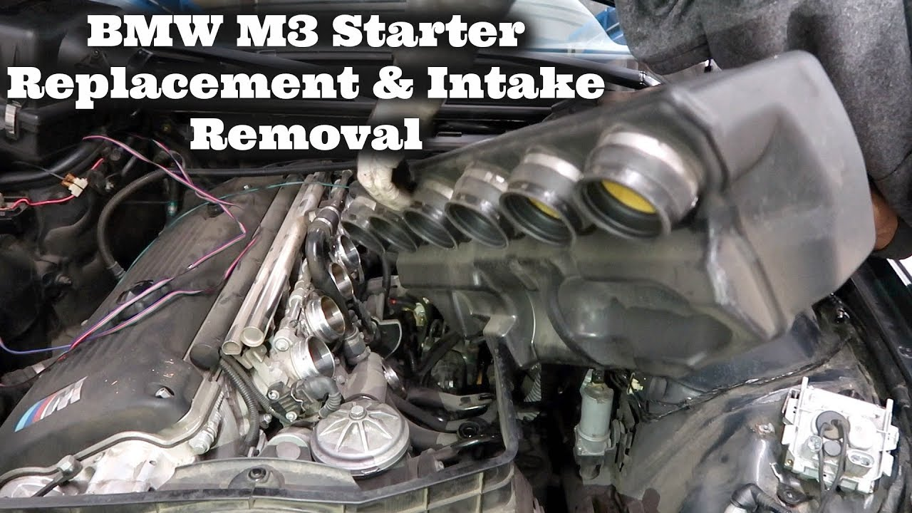 medium resolution of bmw e46 m3 starter intake removal diy