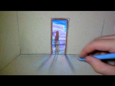 open door drawing. Open Door In My Paper - Art Drawing O