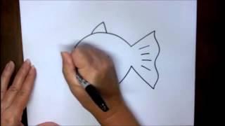 Уроки рисования для детей  Как нарисовать рыбку(, 2015-06-28T10:22:44.000Z)