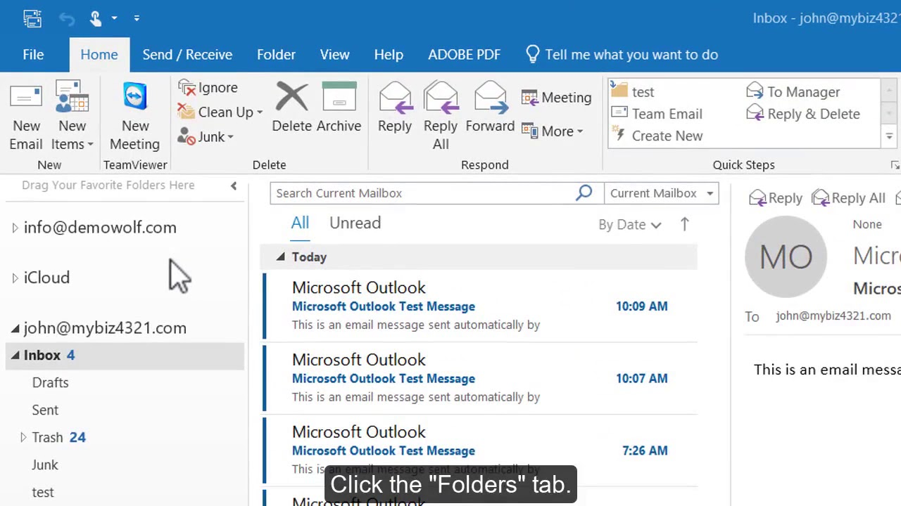 How to create folders in Outlook 2016?