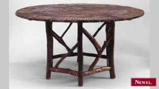 Antique Rustic Adirondack Style Round Twig Dining Table