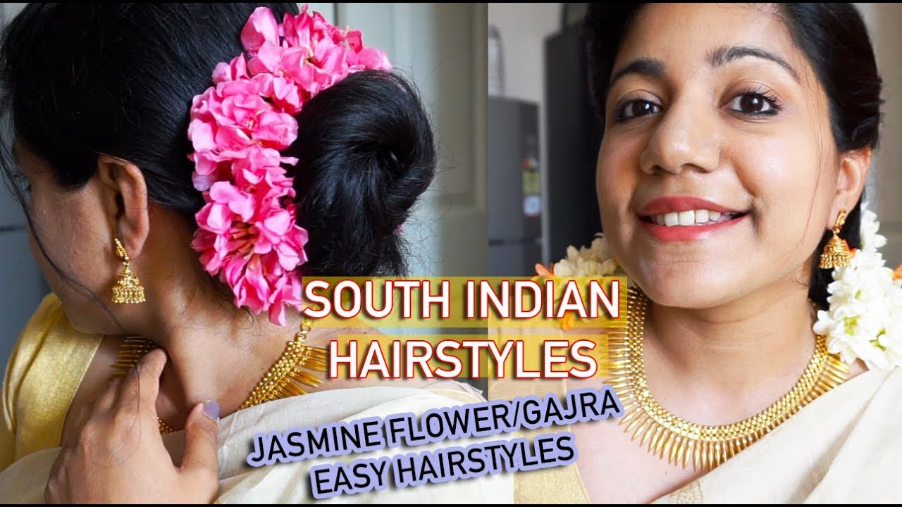5 easy south indian hairstyles for saree   hairstyle using jasmine flower   easy gajra hairstyles