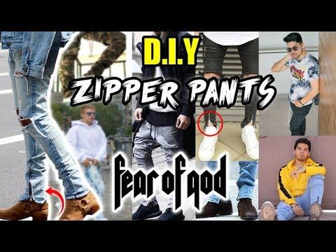 DIY: JEANS CON ZIPPERS AL ESTILO FEAR OF GOD  ZIPPER PANTS