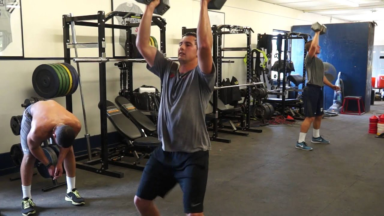 Dumbbell hang clean and press - YouTube