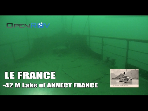 OpenROV dive to a wreck named LE FRANCE - 42m in the lake of annecy robot sous marin