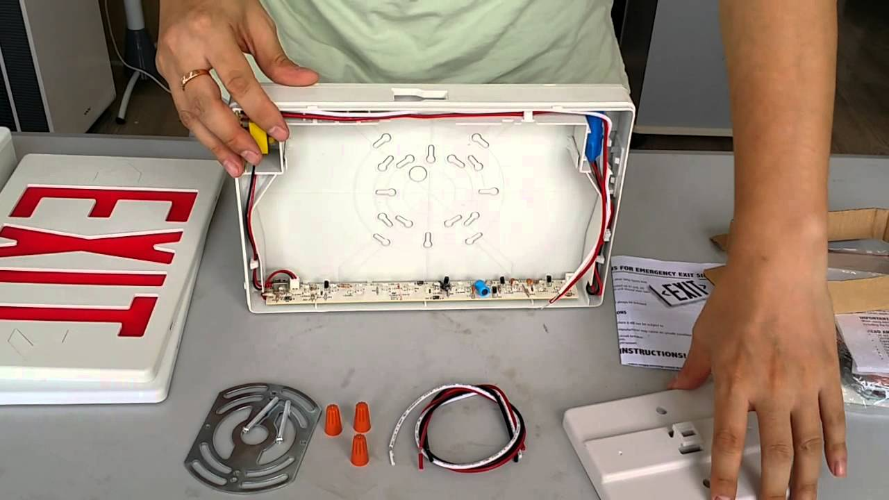 JEE2RW JEE2GW LED Exit Sign Video instruction YouTube – Exit Sign Wiring-diagram 277v