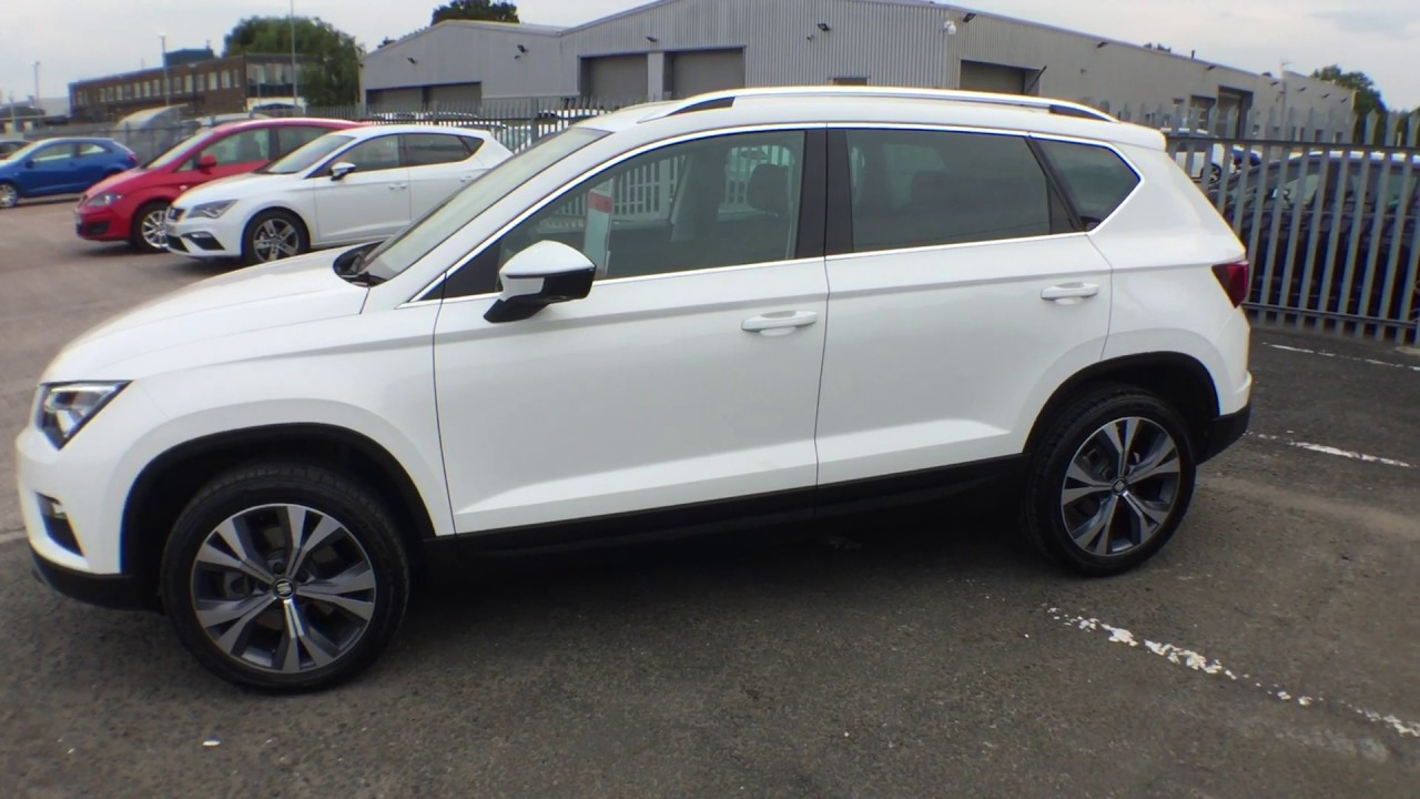 Used Seat Ateca >> SEAT Ateca SE Technology 1.6TDi bila White diesel Sat Nav at Crewe Seat approved used cars - YouTube