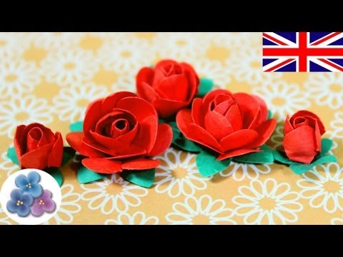 How to make Paper Flowers DIY Paper Roses Valentines Red Roses Mother's Day Cards Mathie