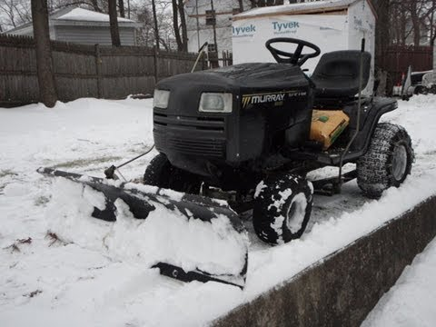 Murray Lawn Tractor Riding Mower Plowing Snow Youtube