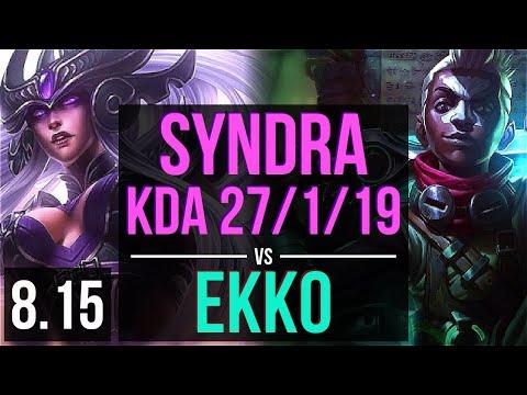 SYNDRA Vs EKKO (MID) ~ KDA 27/1/19, Legendary ~ Korea Diamond ~ Patch 8.15