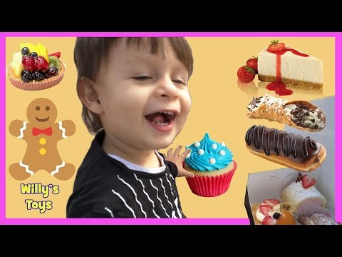 Little Kid at the Bakery Store - Chocolate Eclair Cheesecake Cupcake Gingerbread Cookies