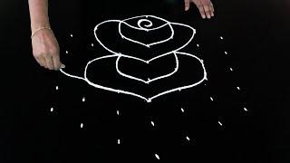 Easy Rangoli Designs with 8X5 Dots | Beautiful Rose Rangoli Designs | Telugu muggulu