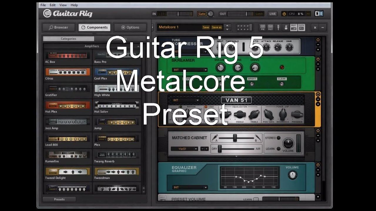new guitar rig 5 metalcore tone preset download youtube. Black Bedroom Furniture Sets. Home Design Ideas