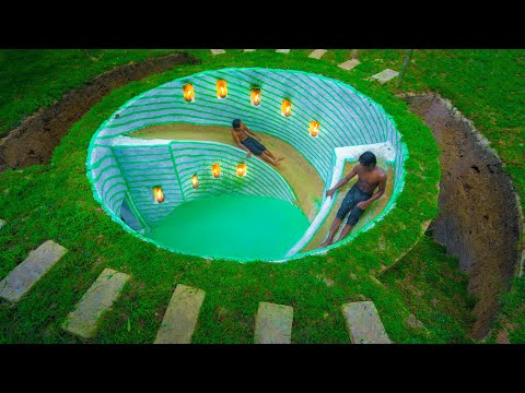بالفيديو : بناء منزلقات مائية في حوض سباحة دائري تحت الأرض