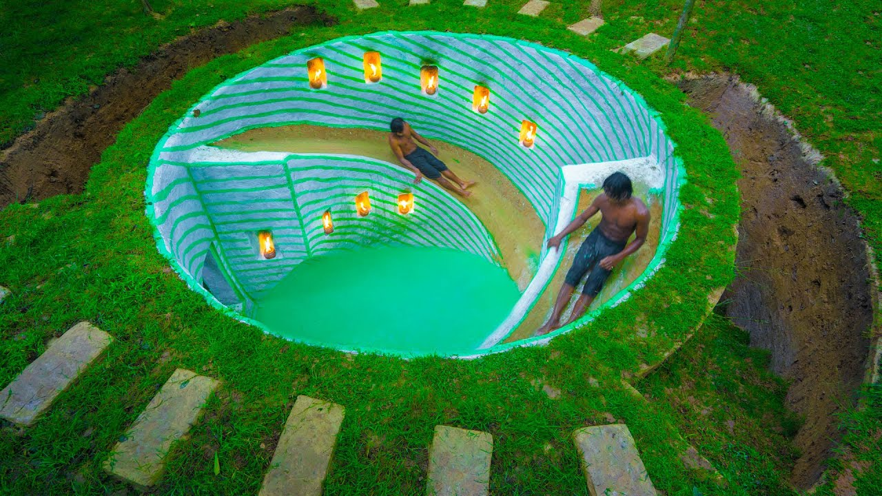 Build Water Slides into Round Underground Swimming Pool