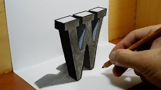 3D Trick Art on Paper, Letter W with Dry Pastel Pencils