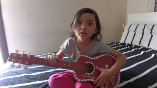 One call away cover by 4 y.o Mishel playing acoustic guitar