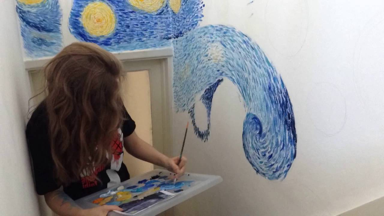 Painting Vincent Van Goghu0027s Starry Night On My Wall   Part 1 Part 85