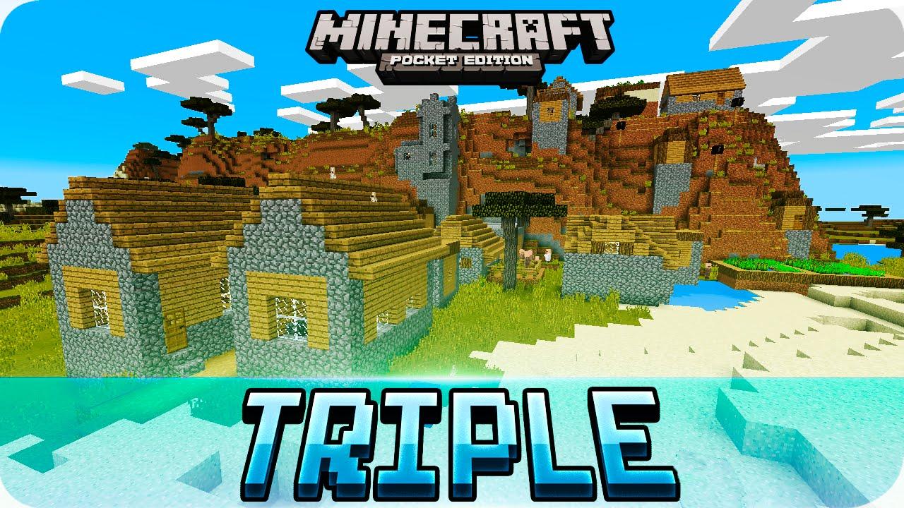 Minecraft PE Seeds - Triple Village & Village with Mesa Biome Seed - 11.11.11  / 11.11 MCPE