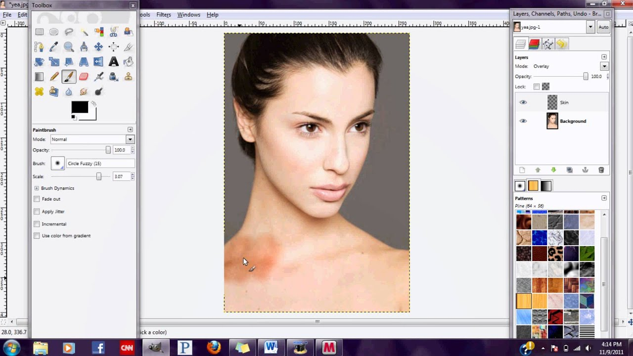 Gimp 2.6 Tutorials Gimp 2 6 Tutorial Make Your Skin More Tan Youtube