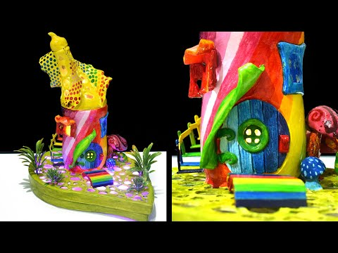DIY Rainbow Fairy House Lamp using Jar and Plastic Bottle | Paper Clay Tutorial