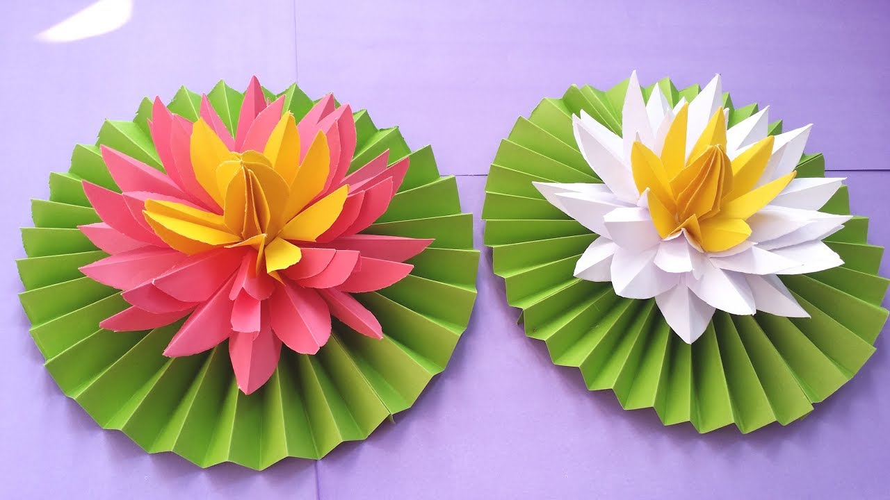 Diy How To Make Most Beautiful Lotus Water Lily With Paper Youtube