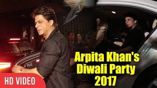 Shahrukh khan at arpita khan's diwali party 2017 | srk at salman's sister arpita khan's diwali party