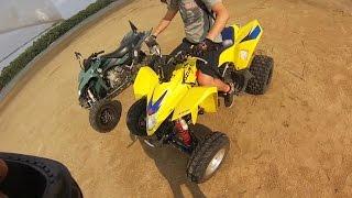Quady plaza piasek wyscigi | Ucieczka przed burza | ATV sand beach racing |  Suzuki LTZ Z400