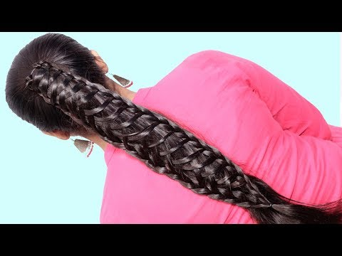 Easy Party Wear Hairstyle For Medium Hair 2019 || Quick & Easy Part Hairstyle For Girls 2019 thumbnail