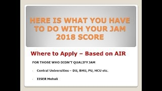 IIT JAM Over - Where to Apply Now ?