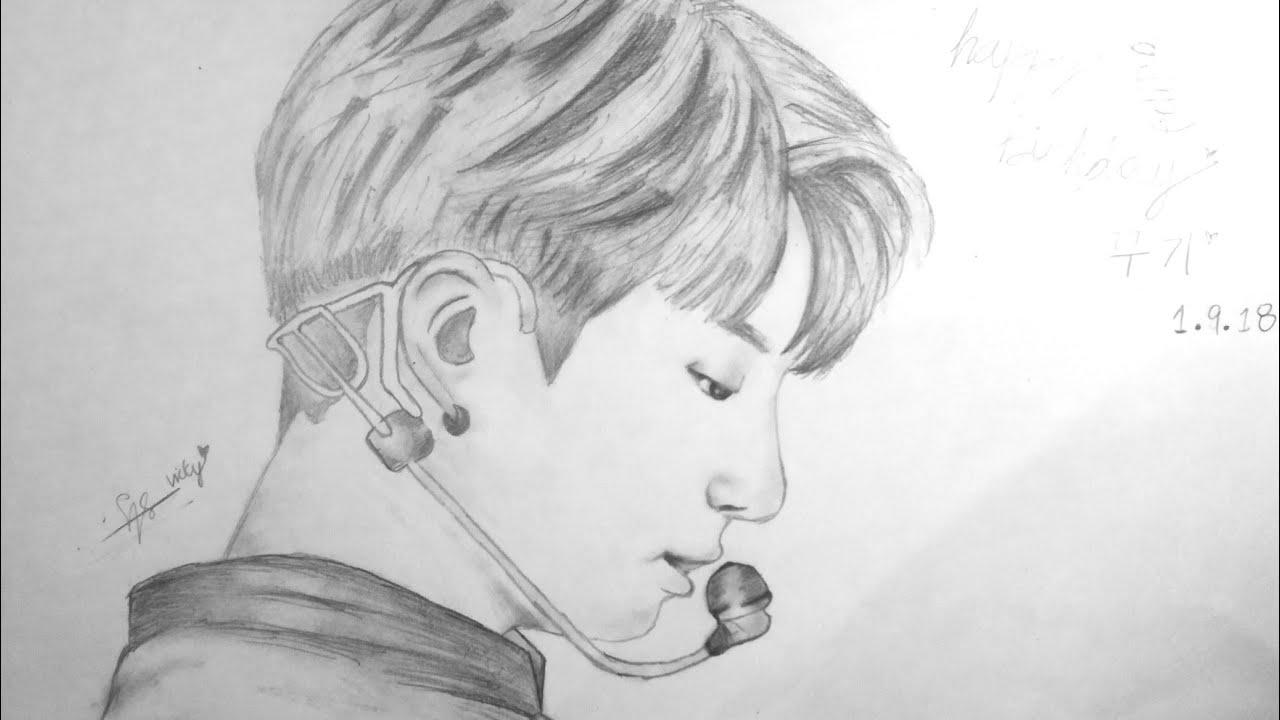 Jungkook Bts Drawings: Happy Birthday JUNGKOOK🎂Speed Draw ️ BTS Pencil Fanart