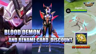 RENAME CARD FOR 50 DIAMONDS AND BLOOD DEMON SKIN - S17 FIRST RECHARGE MLBB