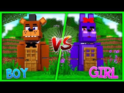 Minecraft - GIRL BONNY VS BOY FREDDY! (Boy Vs Girl Fnaf Challenge)