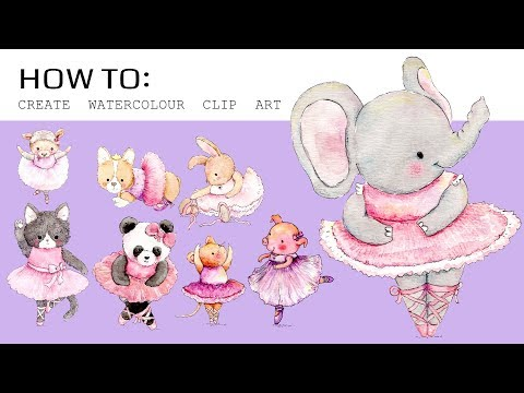 How To Create Watercolour Clip Art Using Sketchbook Pro | PNG/JPEG Clip Art Tutorial