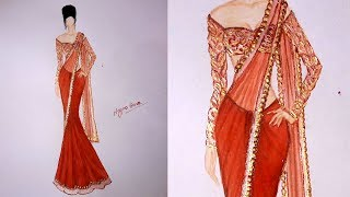 How to draw saree design