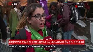 Protesta tras el rechazo del Senado a la legalización del aborto