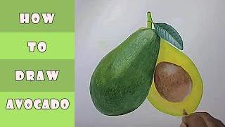 How To Draw Avocado Fruit  كيف ترسم فاكهة افوكادو