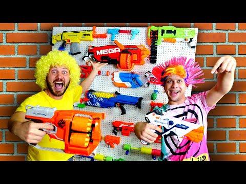 Смешные видео  – Стойка для Бластеров Нерф! – Стрелялки игры для мальчиков.