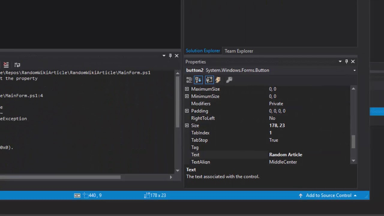 Introduction to UIs with PowerShell and Windows Forms in Visual Studio