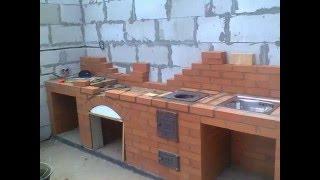 www.kaminochag.ru 8(495)973-51-55 Барбекю с плитой под казан и мойкой в беседке.(Строительство барбекю из кирпича в беседке от компании
