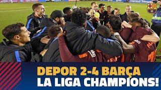 DEPORTIVO 2-4 BARÇA | La Liga title celebrations! thumbnail