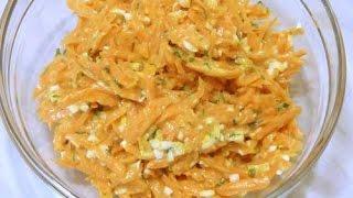 Салат из свежей моркови с яйцом, чесноком и майонезом