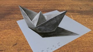 3D PAPER SHIP ✅ - How to Draw Paper Ship Illusion - Anamorphosis